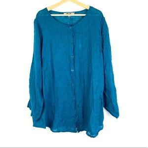 FLAX turquoise 100% linen long sleeve button down